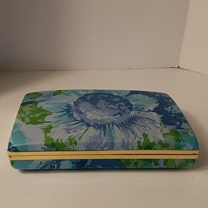 Vintage Floral Plastic & Metal Earring Case Travel